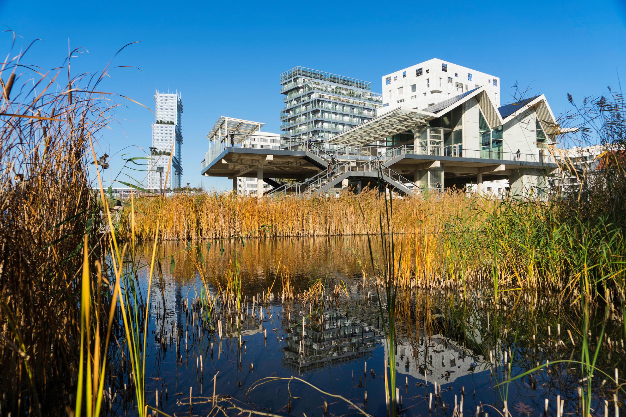 Au premier plan, un plan d'eau avec le reflet, en arrière-plan, des immeubles et du TGI de Paris.