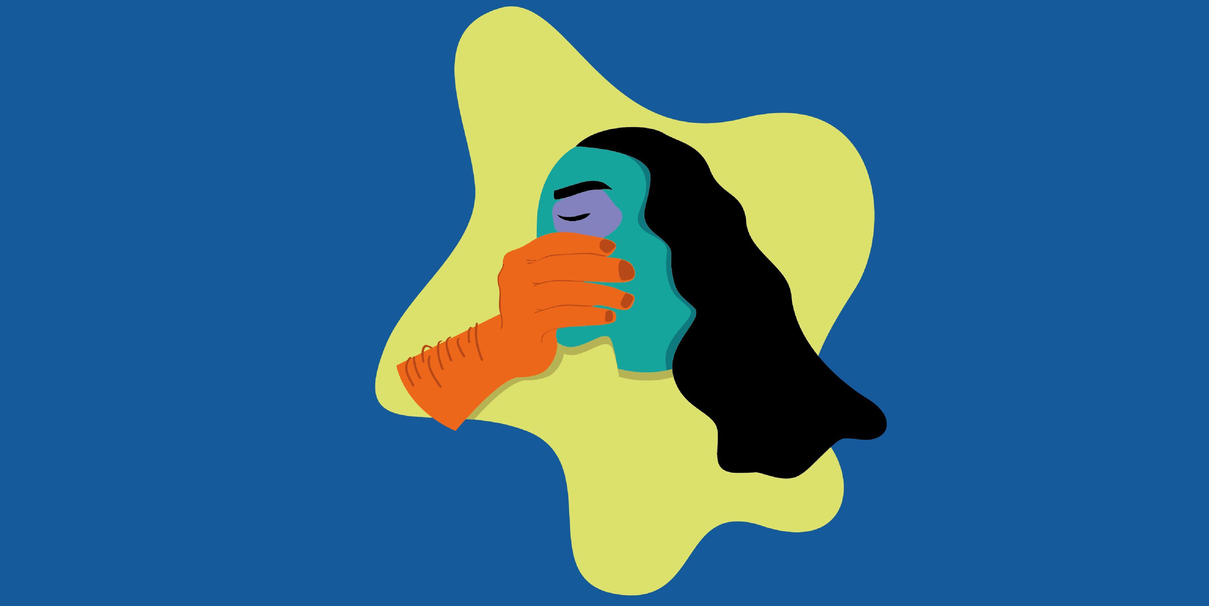 Illustration dessinée représentant une femme mise sous silence par une main d'homme sur un aplat de couleur bleu