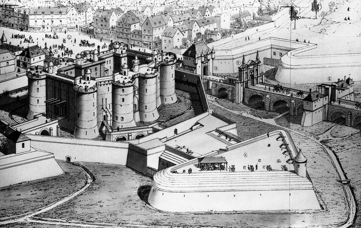 Reconstitution de la prison de la Bastille. Paris.