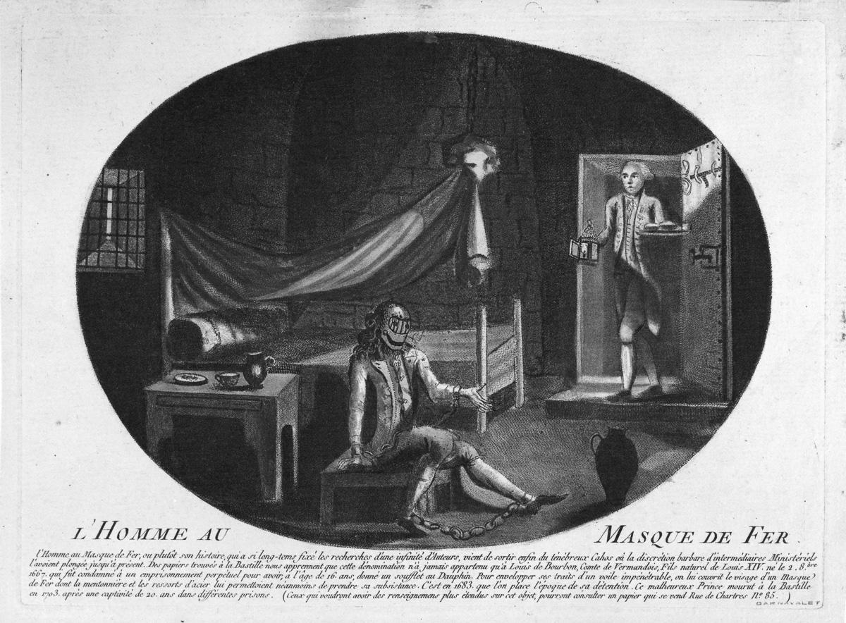 """""""L'homme au masque de fer"""". Estampe. Paris, musée Carnavalet."""