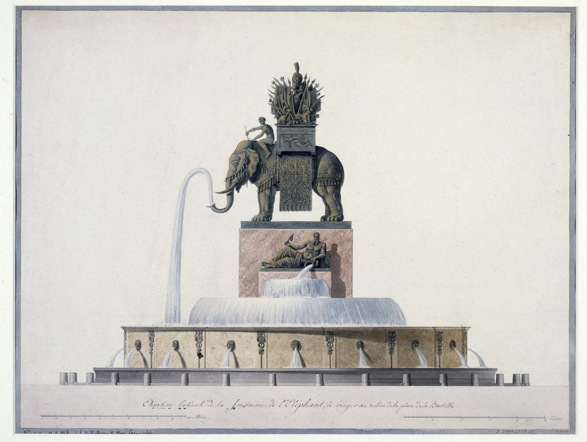 Elevation latérale de la fontaine de l'Eléphant à ériger au milieu de la place de la Bastille
