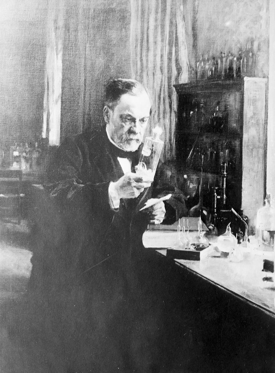 Louis Pasteur (1822-1895), chimiste et biologiste français, dans son laboratoire.