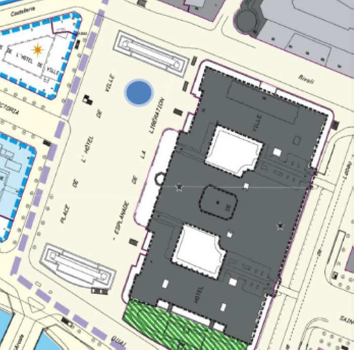Plan indiquant l'emplacement du manège carroussel place de l'Hôtel de Ville (4e)