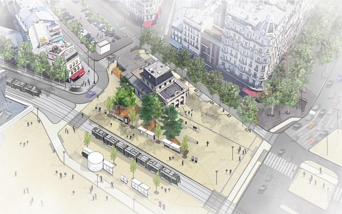 Visuel de la Place Maillot et de la  future station du tramway T3b
