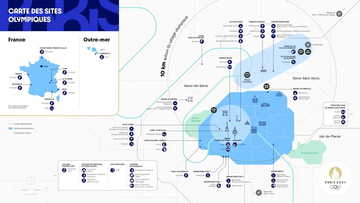 Carte des sites Olympiques pour #Paris2024