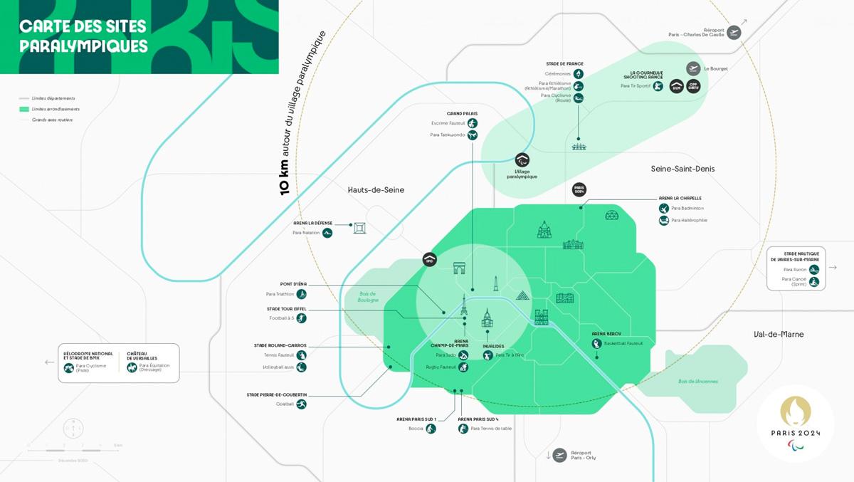 Carte des sites Paralympiques pour #Paris2024