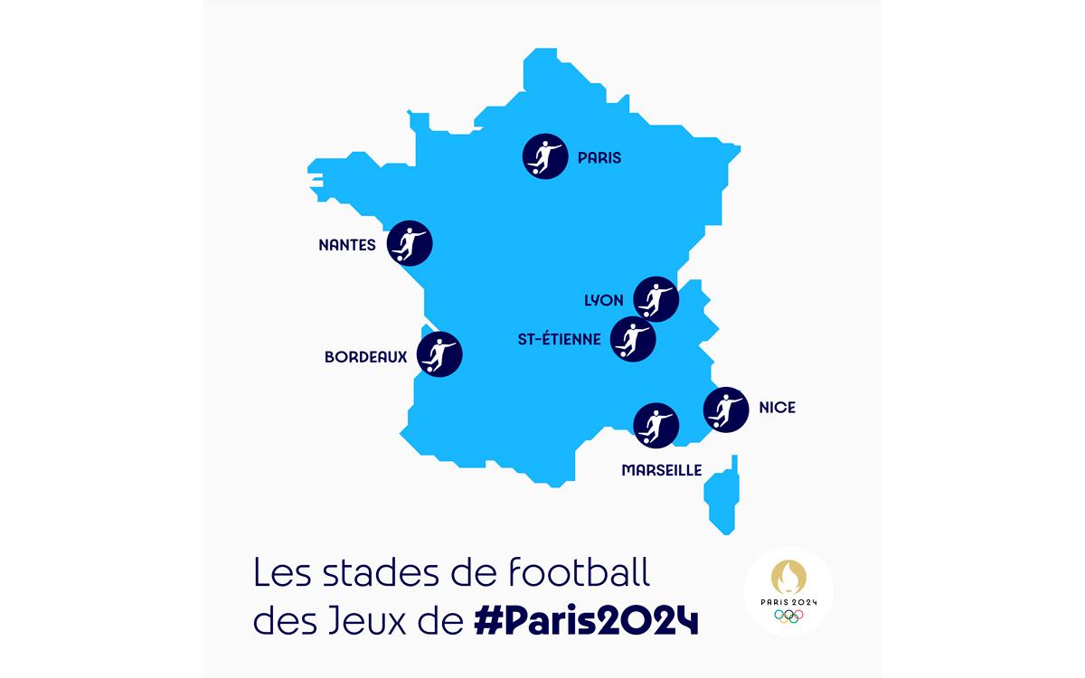 Carte des stades de football des Jeux de #Paris2024