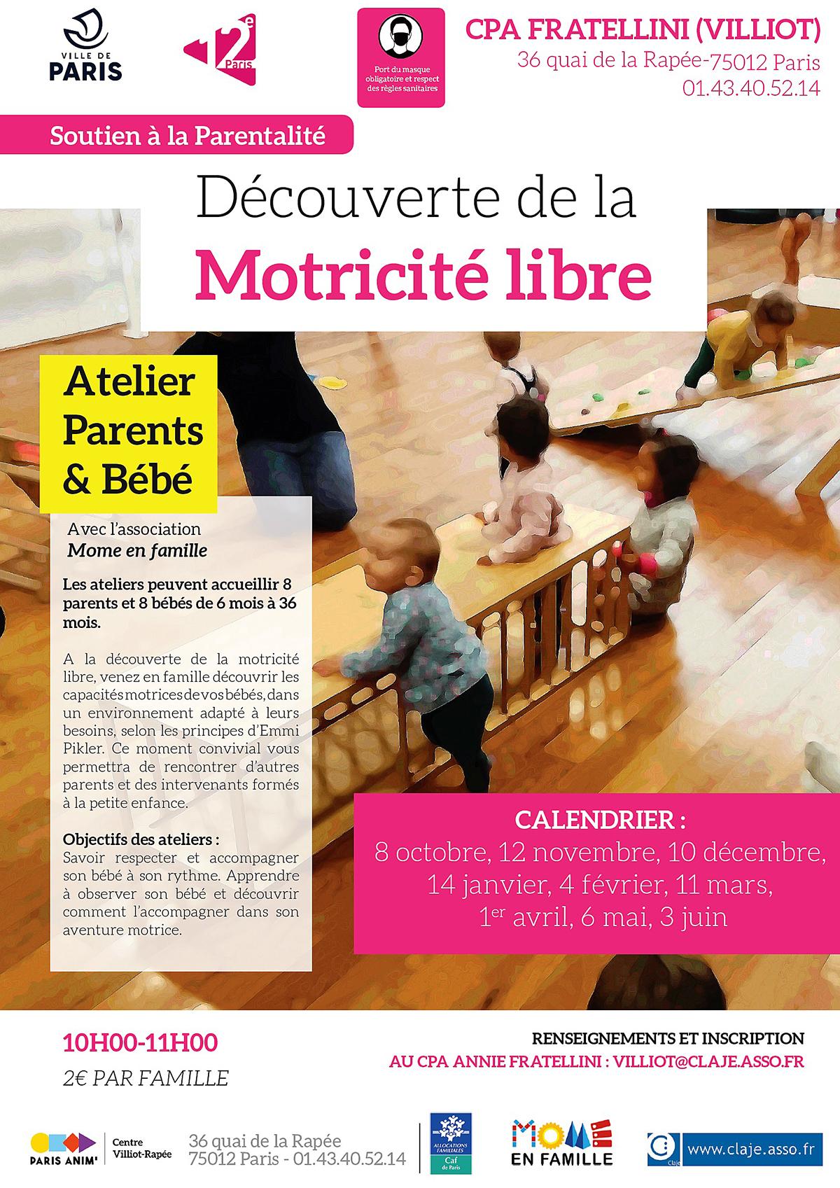 Découverte de la motricité libre à travers des atelier parents et bébé d'une heure par mois