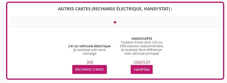 Capture d'écran carte de recharge électrique véhicule privatif