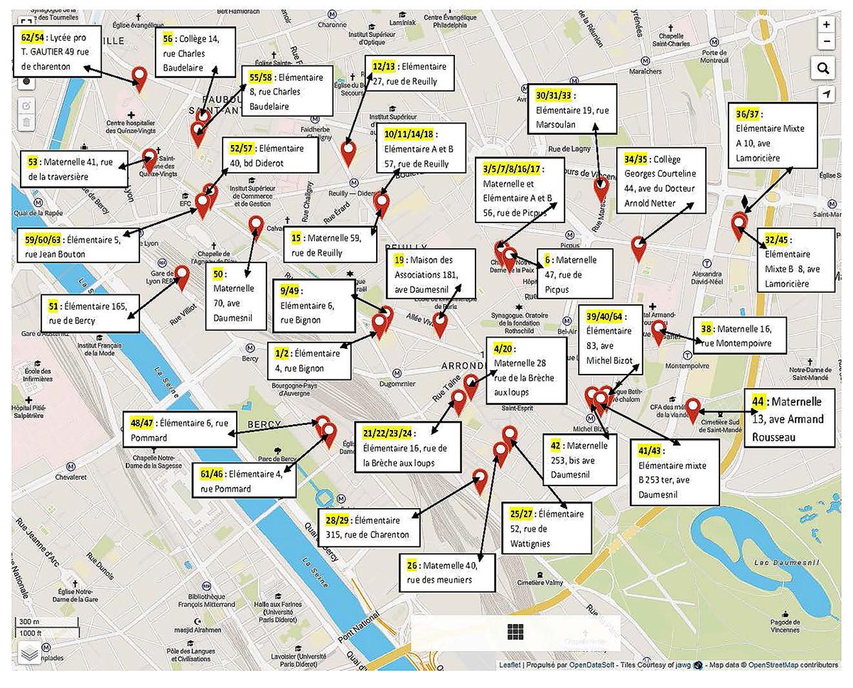 Les 64 bureaux de vote du 12ème arrondissement et leurs adresses postales