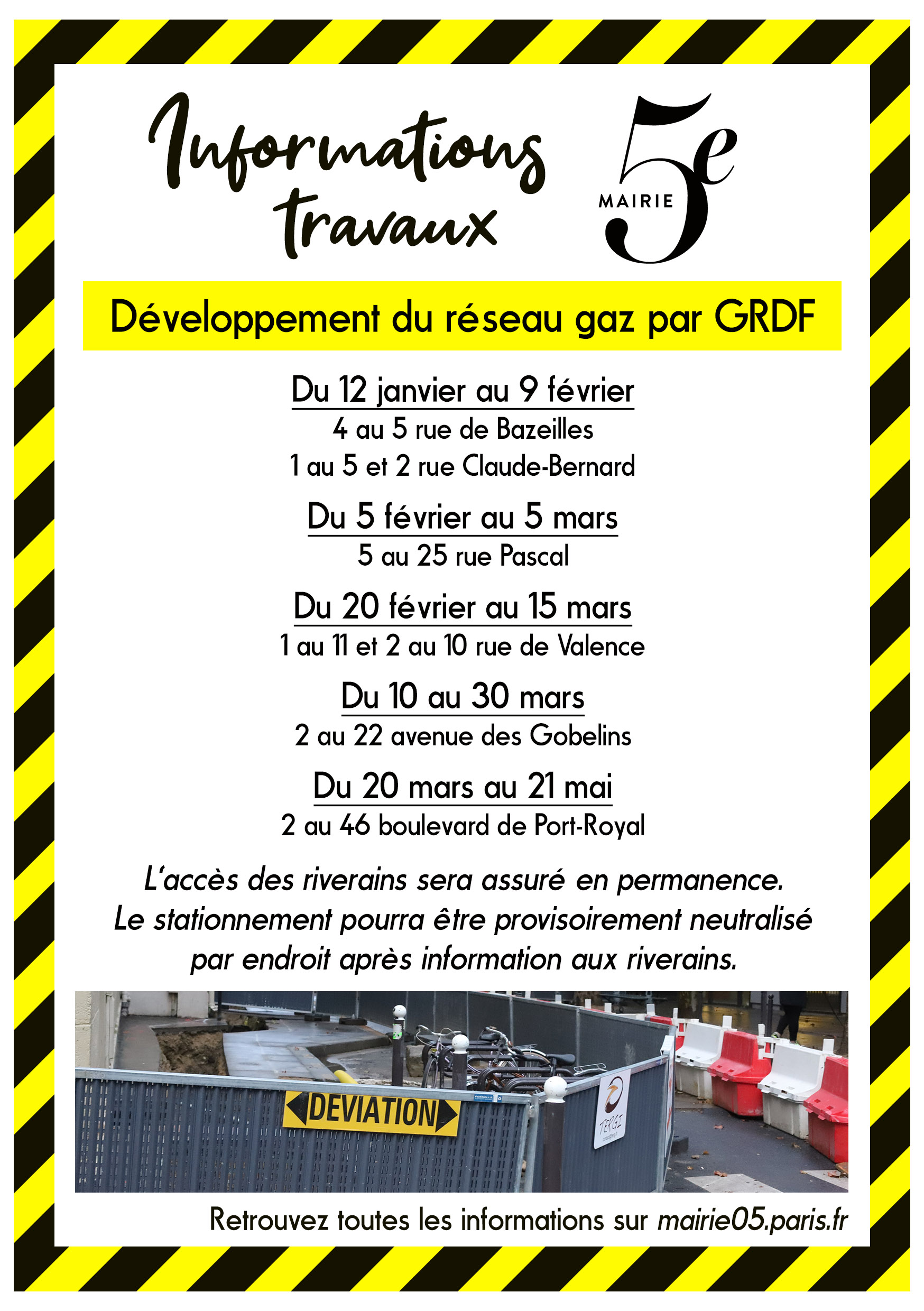 Travaux gaz naturel GRDF Paris5