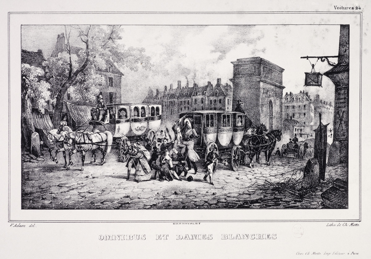 Omnibus et dames blanches. Voitures, nº 24. Panidochème, 2ème série. Document du Cabinet d'arts graphiques. Lithographie, entre 1828 et 1830. Paris, musée