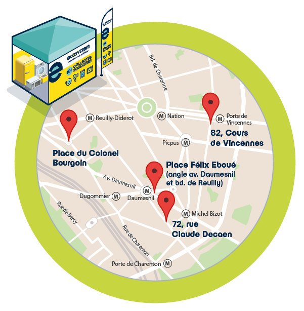 Carte de l'arrondissement situant les points de collecte des déchets électroniques et électriques