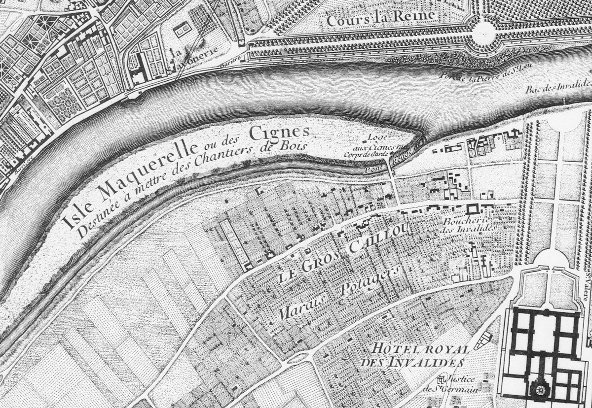 « Isle Maquerelle ou des Cignes », reliée à la rive gauche par le « pont rouge »
