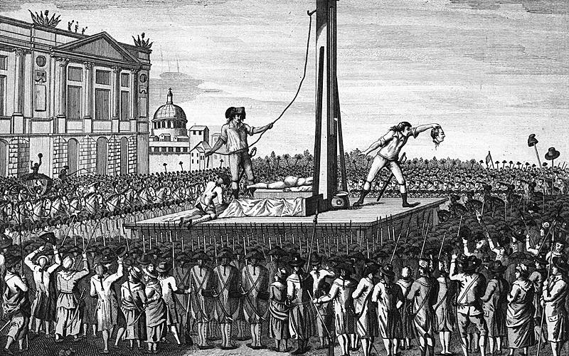 """""""Fin tragique de Louis XVI, éxécuté le 21 janvier 1793 sur la place de Louis XV""""."""