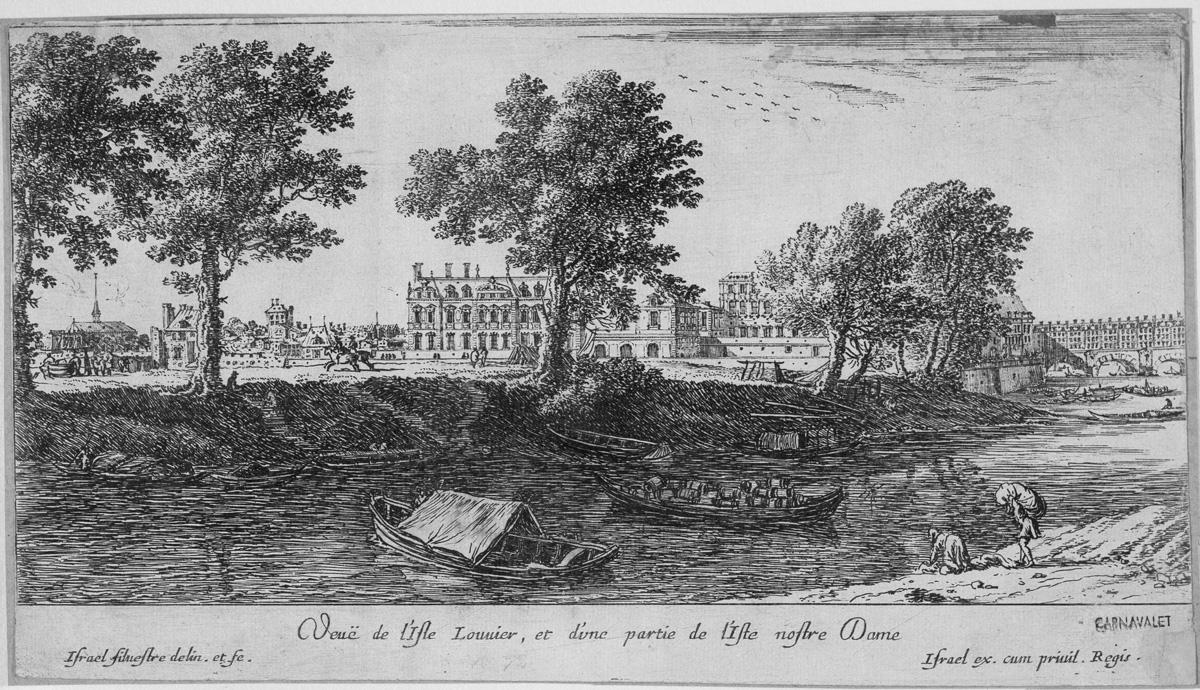 Vue de l'Isle Louvier, et d'une partie de l'Isle nostre Dame