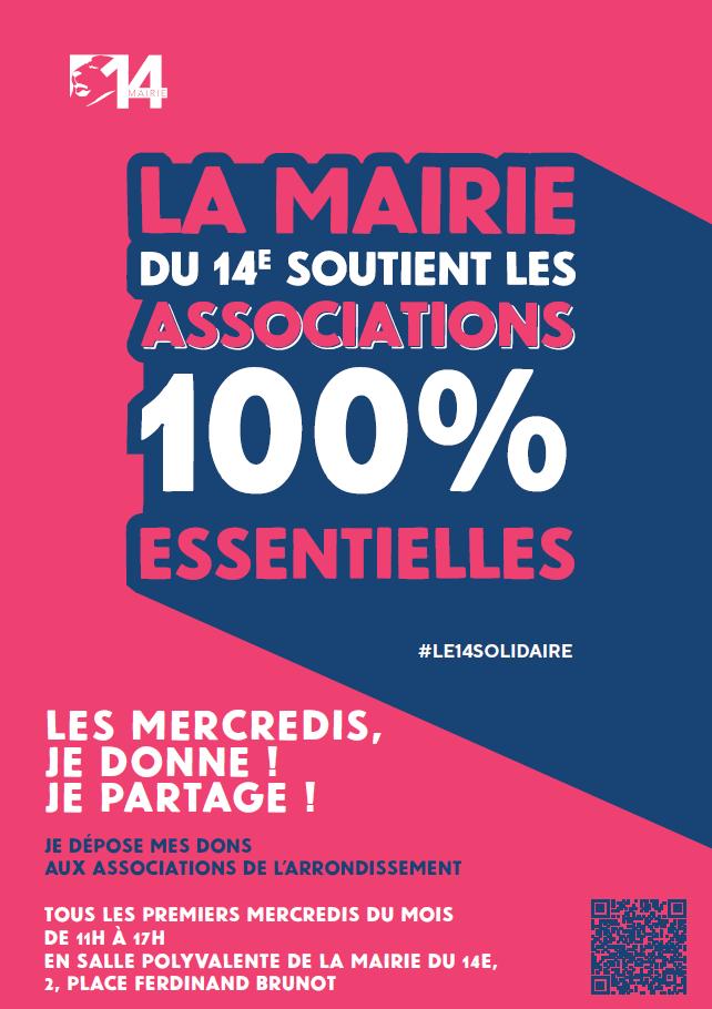 Affiche du rendez-vous mensuel du 14ème arrondissement : Les mercredis, je donne, je partage !