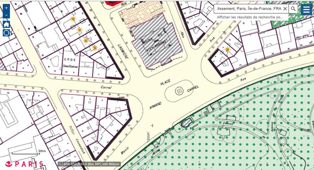 Plan place Armand Carrel (19e)