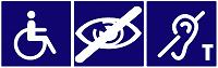 Pictogrammes handicaps (PMR - Malvoyant - Surdité boucle auditive)
