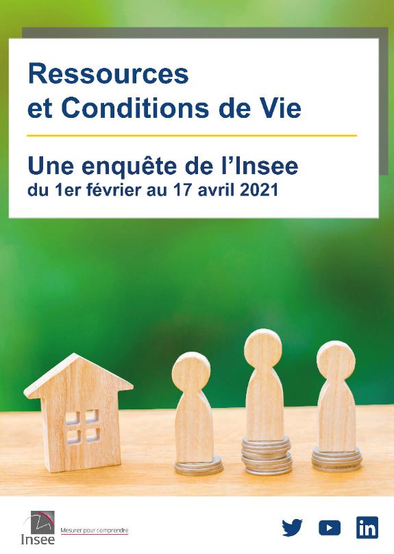Affiche de l'enquête Insee sur les ressources et conditions de vie, du 1er février au 17 avril 2021.