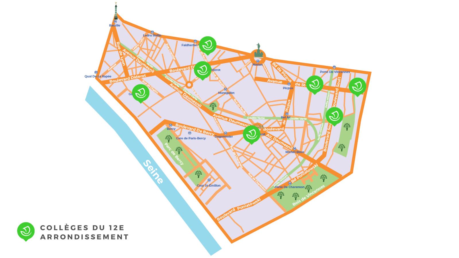 Carte de l'arrondissement situant les 7 collèges de l'arrondissement