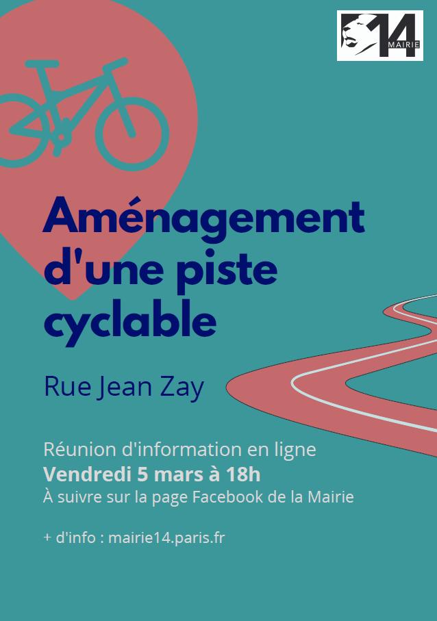 Affiche sur la réunion publique en ligne sur la présentation du projet de piste cyclable rue Jean Zay.