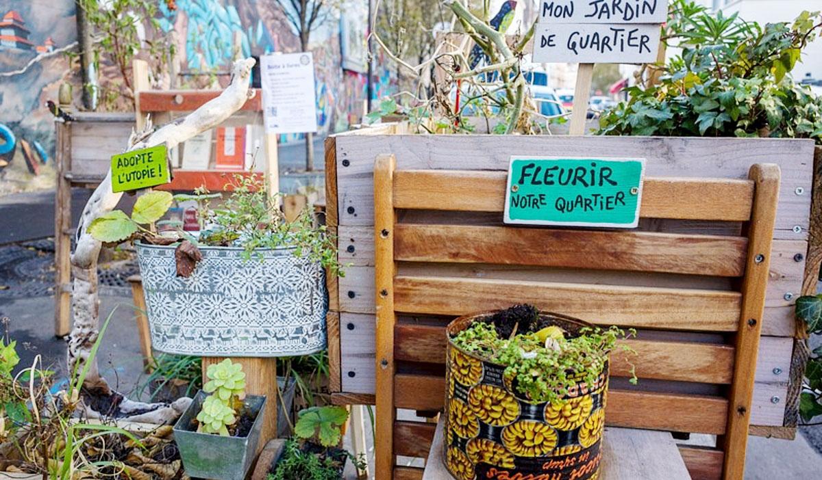 Photo d'un projet de végétalisation avec des jardinières
