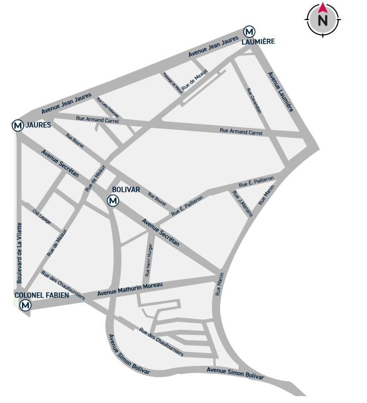 Plan du quartier Secrétan