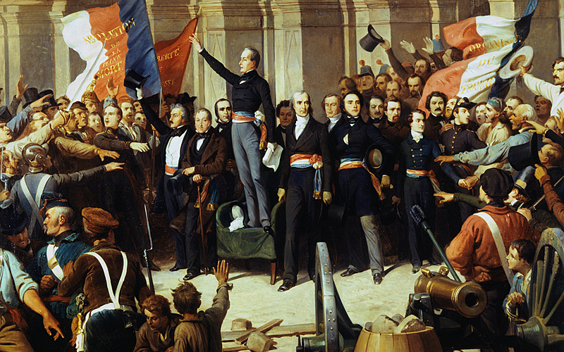 """Henri Félix Philippoteaux (1815-1884). """"Alphonse de Lamartine rejetant le drapeau rouge en 1848"""", détail."""