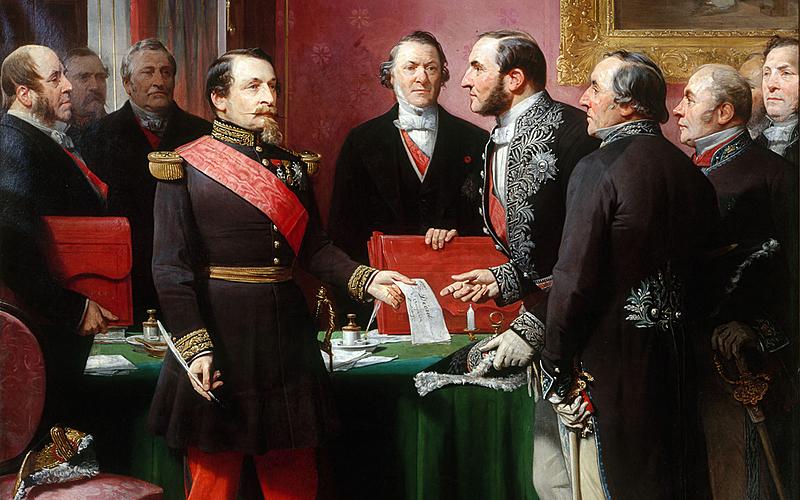 """Adolphe Yvon (1817-1893). """"Napoléon III remettant au baron Haussmann le décret d'annexion des communes limitrophes (16 février 1859)""""."""