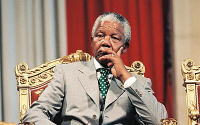 Visite d'état à l'Hôtel de ville de Nelson Mandela, président d'Afrique du sud en 1996.