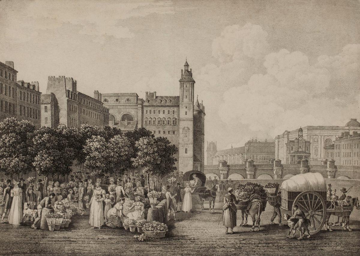 Le quai aux Fleurs  Vergnaux, Nicolas Joseph , Dessinateur  vers 1816.