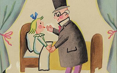 illustration, «La visite du docteur»,pour l'album What do you want to be ? réalisé en 1957.
