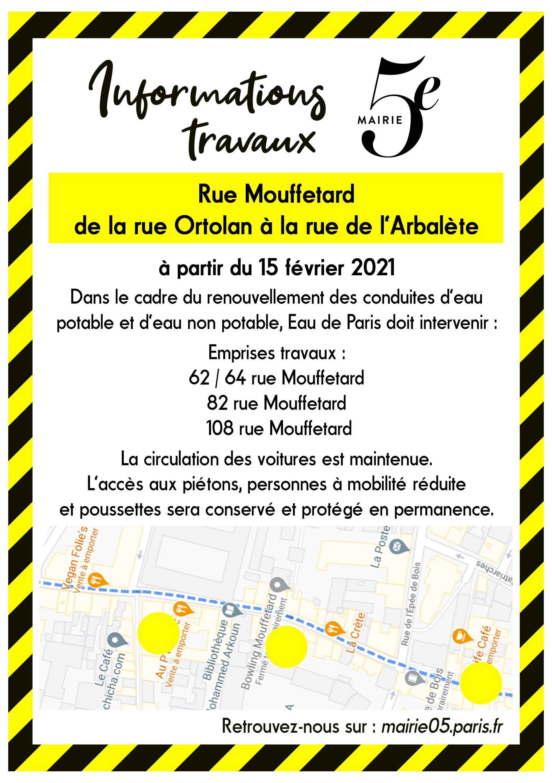Mairie travaux eau rue Mouffetard