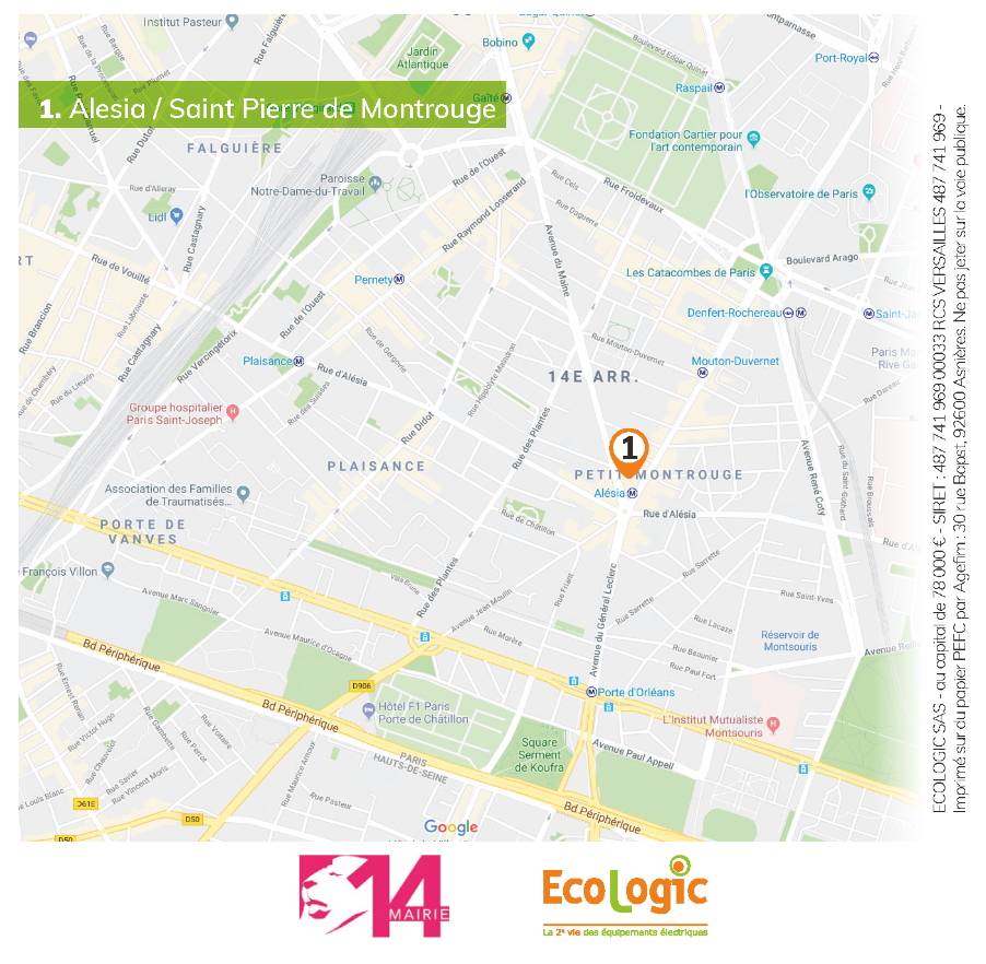 Plan du quartier Alésia, lieu de collecte solidaire Ecologic