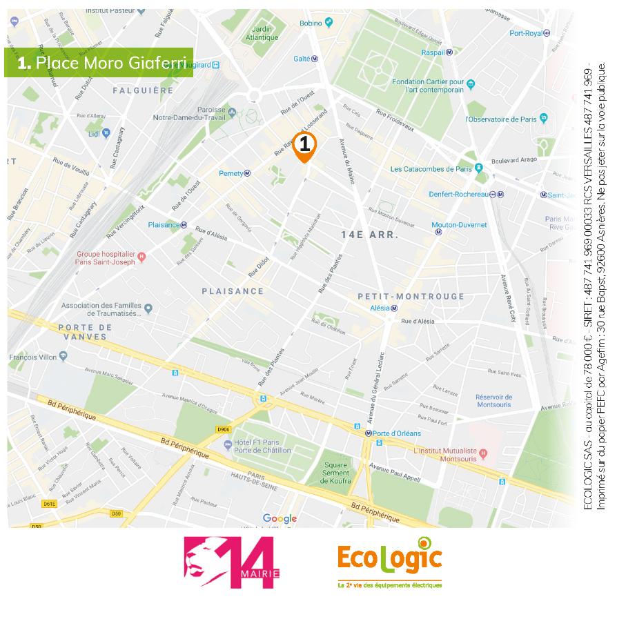 Plan du quartier place Moro, lieu de collecte solidaire Ecologic