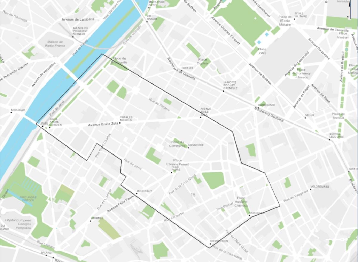 Plan des quartiers Emeriau - Zola, Violet - Commerce et Saint-Lambert
