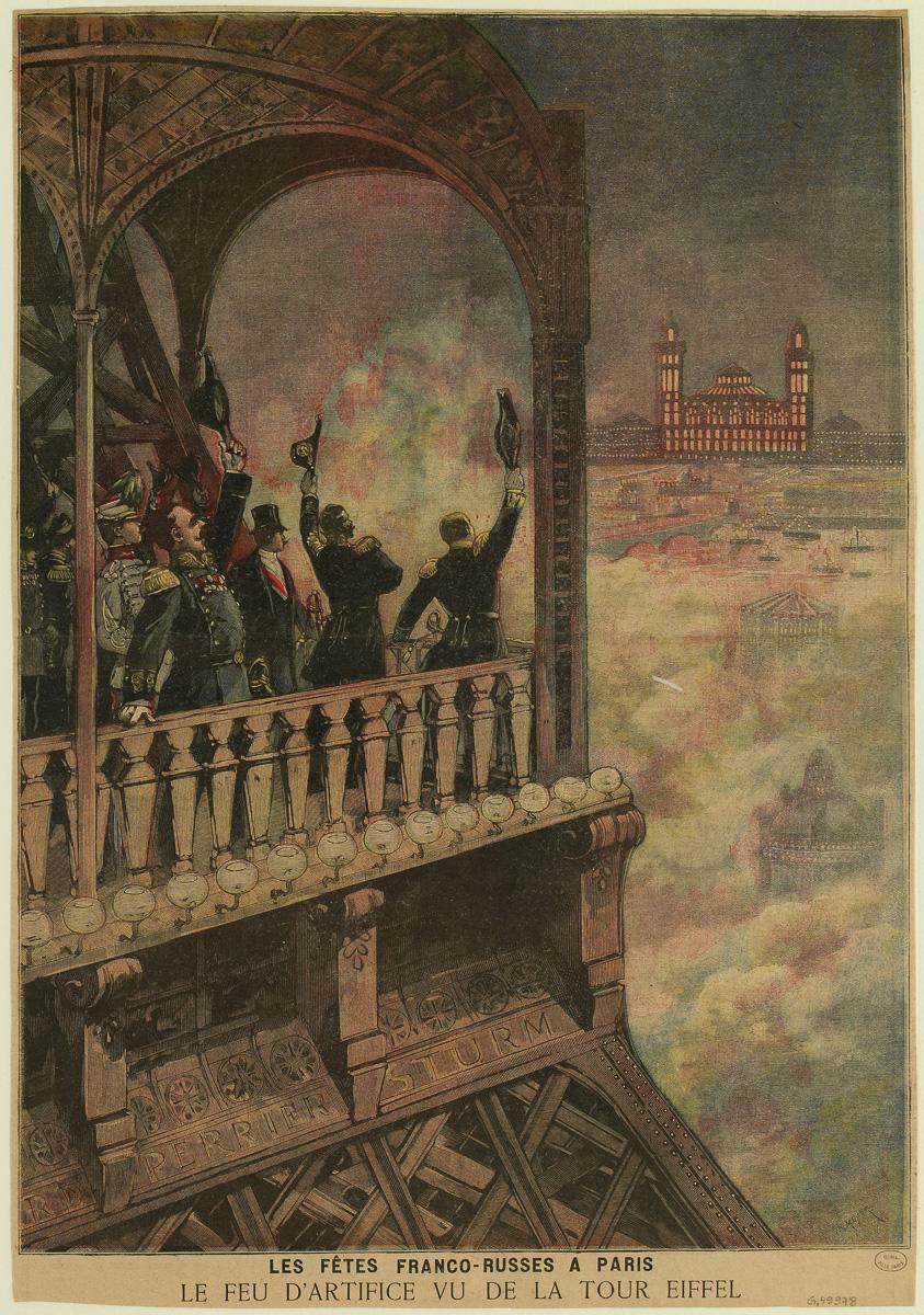 Les fêtes franco-russes à Paris / Le feu d'artifice vu de la Tour Eiffel.