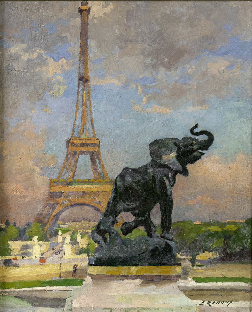 """L'Eléphant de Frémiet et la Tour Eiffel"""". Huile sur toile, vers 1922"""