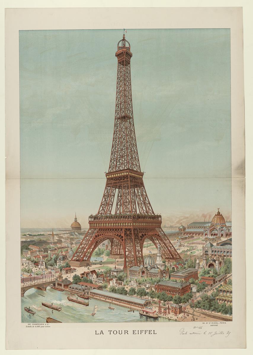 Ilustración de la Torre Eiffel en 1889