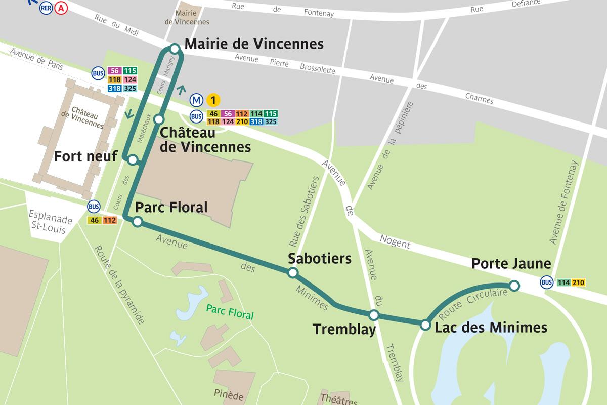 Tracé du parcours de la navette autonome Bois de Vincennes