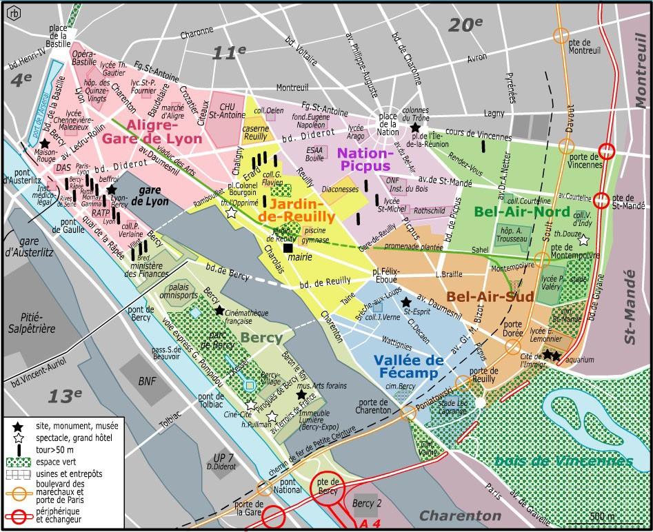Le 12e arrondissement comprend 4 quartiers administratifs : Bel-Air, Bercy, Picpus et Quinze-Vingts.