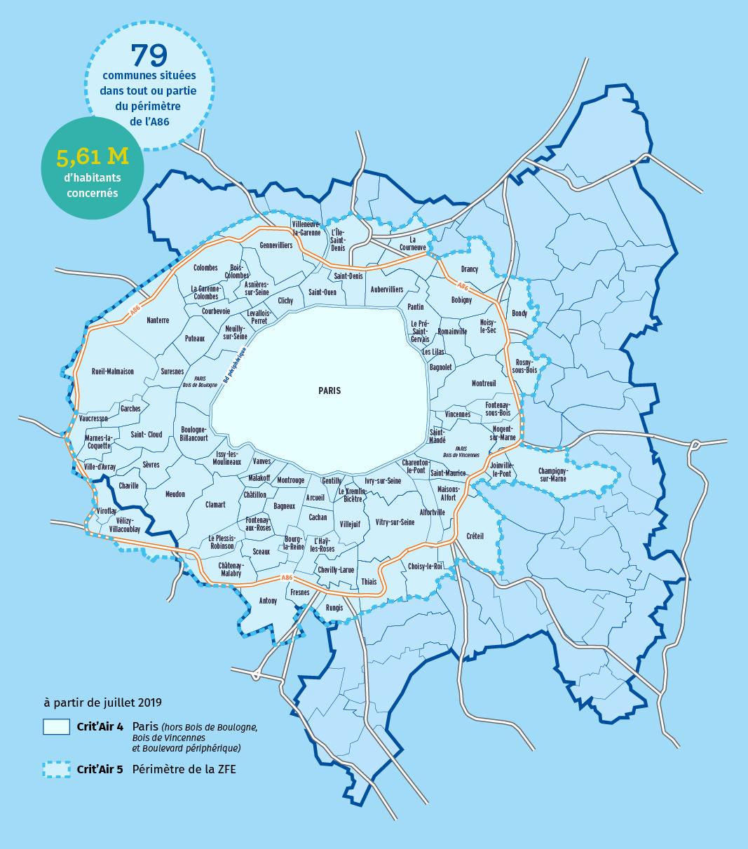 Le périmètre de la ZFE métropolitaine, étape de juillet 2019