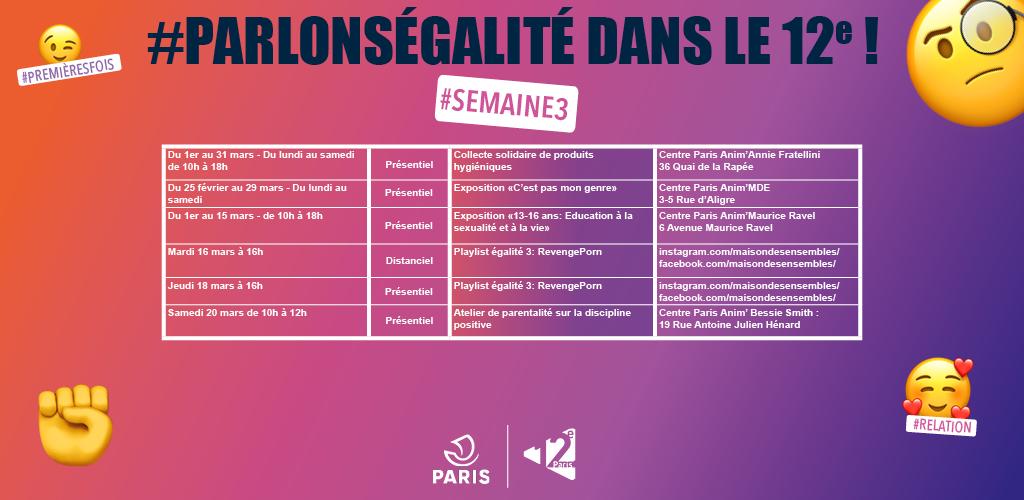 Planning des évènements #ParlonsEgalité pour la semaine 3 du mois de mars