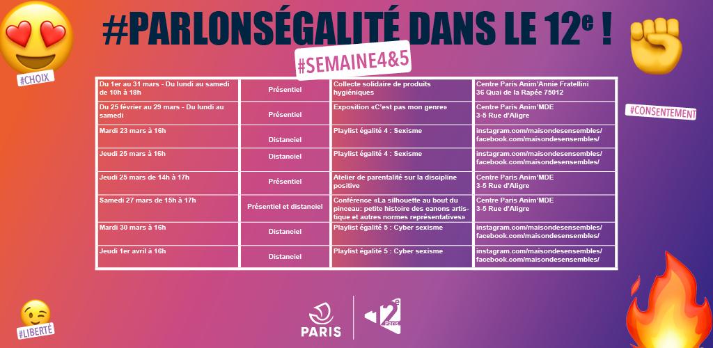 Planning des évènements #ParlonsEgalité pour les semaines 4 et 5 du mois de mars