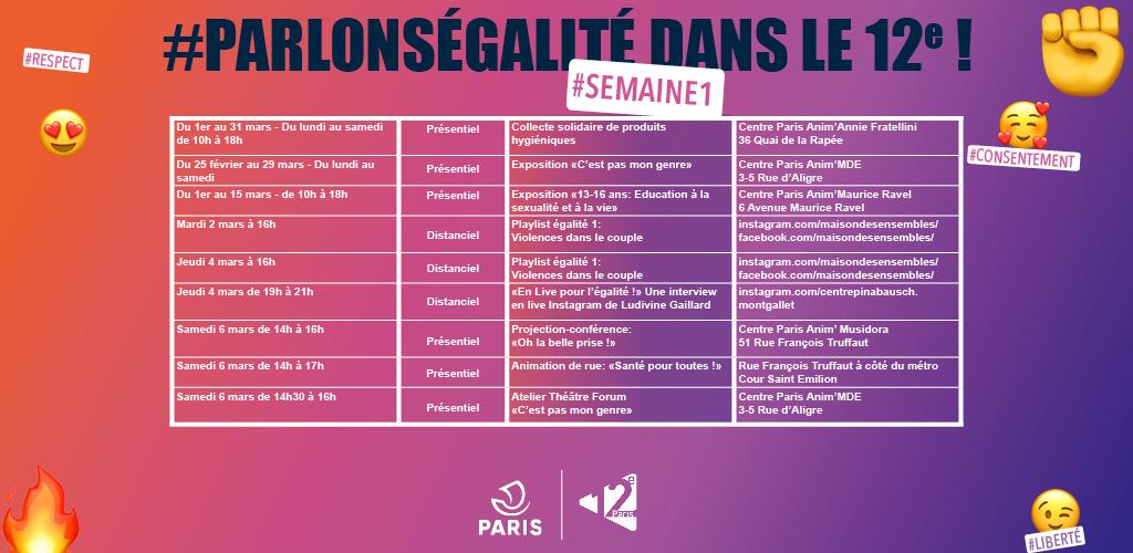 Planning des évènements #ParlonsEgalité pour la semaine 1 du mois de mars