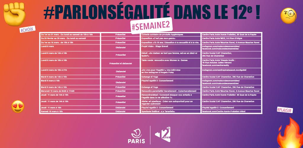 Planning des évènements #ParlonsEgalité pour la semaine 2 du mois de mars