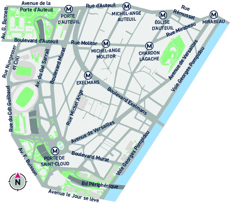 Plan du quartier Auteuil Sud