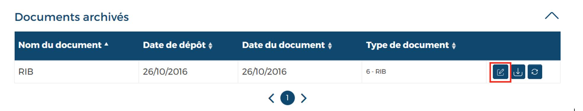 Document bouton modifier encadré