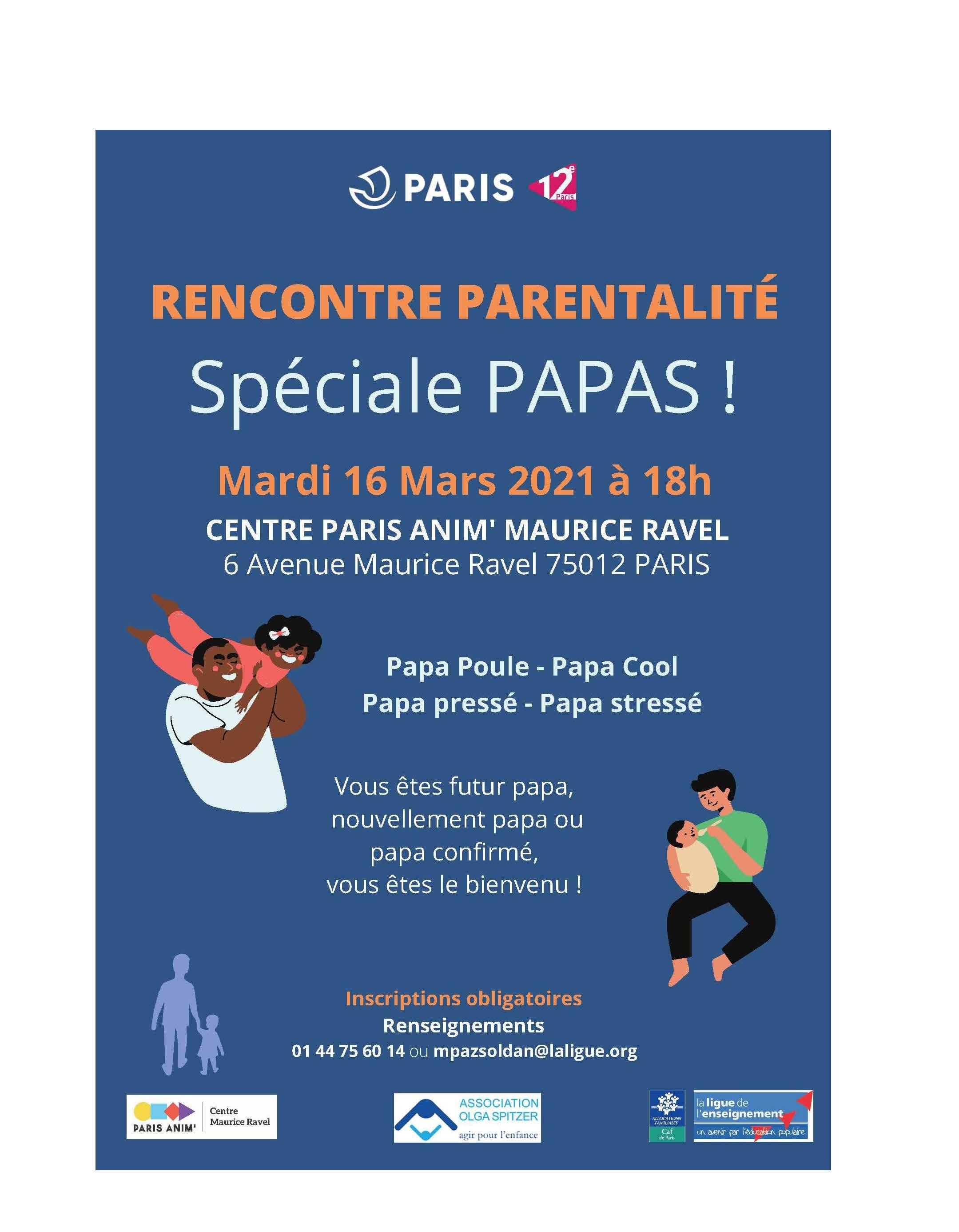 Rencontre parentalité spéciale Papas le mardi 16 mars 2021 à 18h au centre Paris Anim Maurice Clavel